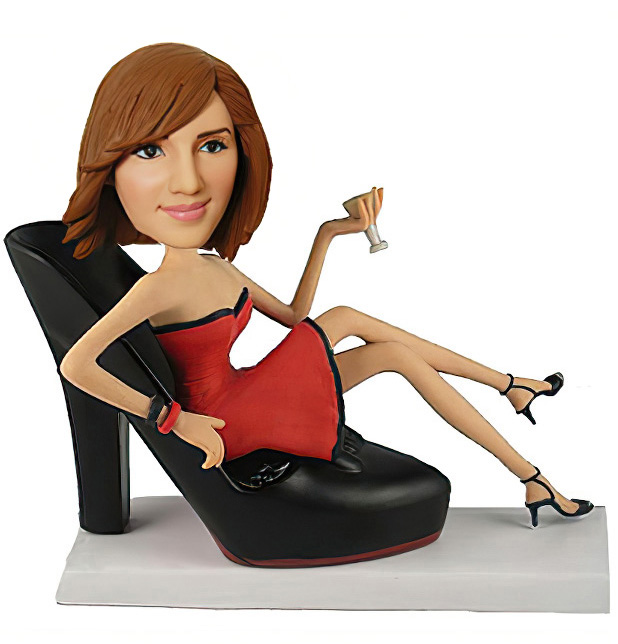 Sexy Women Sit On Shoe Bobblehead - Click Image to Close