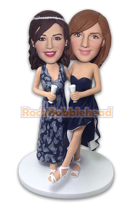 Bride and Bridesmaid on Wedding Party Bobblehead - Click Image to Close