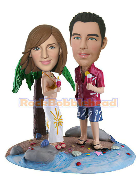 Couples Under the Palm Bobblehead - Click Image to Close