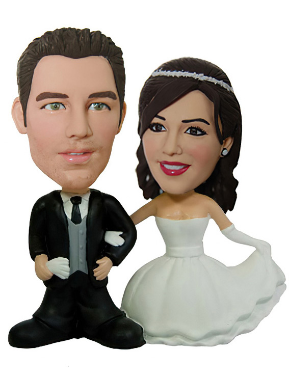 bobblehead wedding cake toppers personalized wedding cake topper custom bobblehead rockbobble 12068
