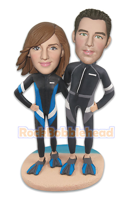 Diving Couple On The Beach Custom Bobblehead - Click Image to Close
