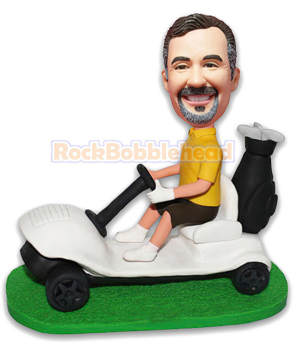 Golfer Driving Golf Car Custom Bobblehead - Click Image to Close