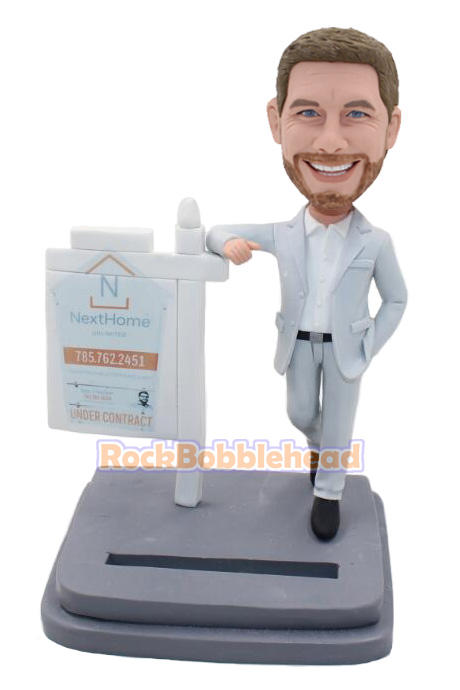 Male Realtor Card Holder Custom Bobblehead - Click Image to Close