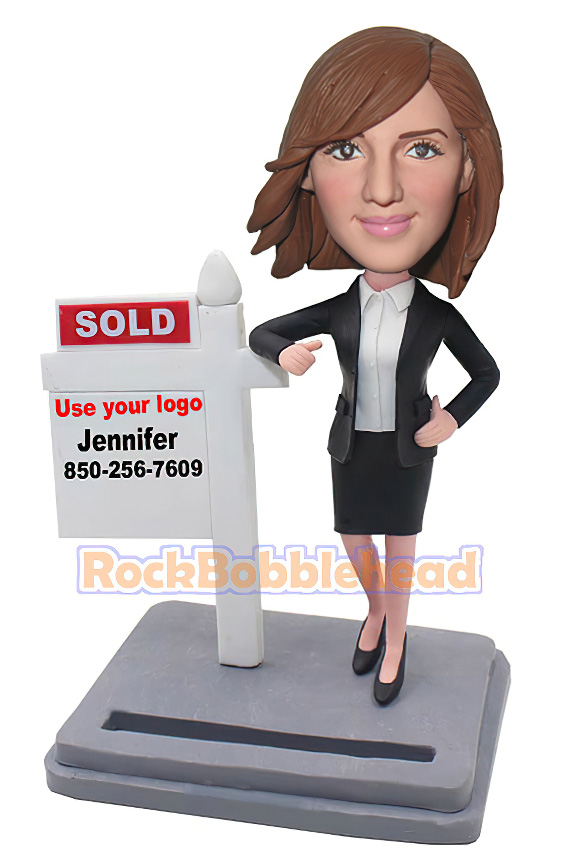 Real Estate Agent Business Card Holder Bobblehead - Click Image to Close