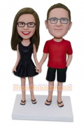 Casual Couple Hand in Hand Custom Bobblehead