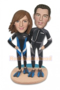 Diving Couple On The Beach Custom Bobblehead