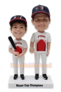 Father and Son Playing Baseball Custom Bobblehead