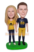 Football Fans Couple Bobblehead