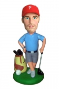 Golfer With Bag & Clubs Bobblehead