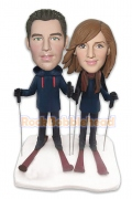 Skiing Couple Custom Bobblehead