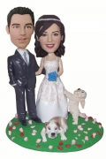Wedding Couple With Two Pets Bobblehead