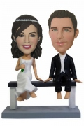 Wedding Couple Sitting On a Bench Bobblehead