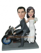 Wedding Couple On Motorcycle Bobblehead