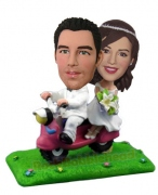Wedding Couple On Scooter Bobblehead 2