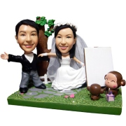 Wedding Couple with Monkey Custom Bobblehead