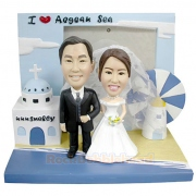 Wedding Couple At Aegean Sea Custom Bobblehead