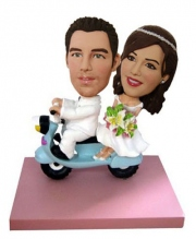 Wedding Couple On Scooter Bobblehead