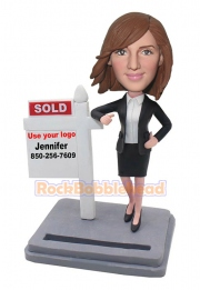 Real Estate Agent Business Card Holder Bobblehead