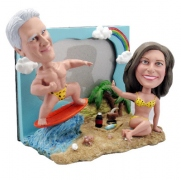 Beach Couple with Frame Bobblehead